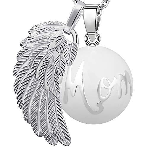 """Bola colgante de embarazo armonía alarma bola""""ángeles del Marcador"""" joya musical de maternidad las mujeres embarazadas con cadena de alas de ángel y Bola (114 CM, MOM-BLANC)"""