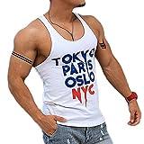 タンクトップ シティーボーイ メンズ TOKYO PARIS TankTop スリムフィット セレブ マッチョ トレーニング 海 プール 夏 ビーチ 夏休み ラグジュアリー おしゃれ GTLINE Favolic ファボリック (L, White)