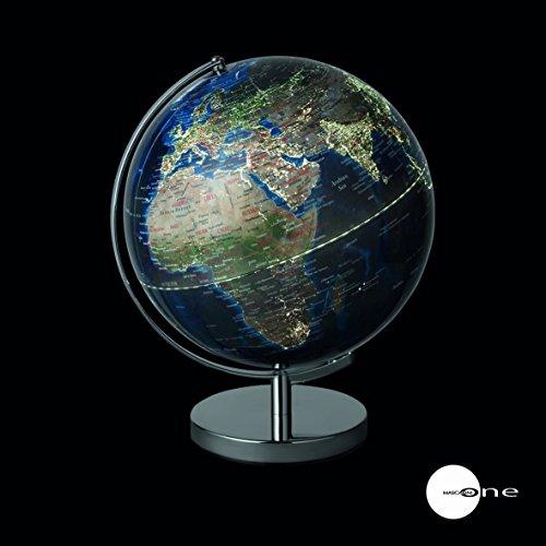 Mascagni Globus Städte Hellen mit flexiblem USB und Sektor Durchmesser 30cm blau