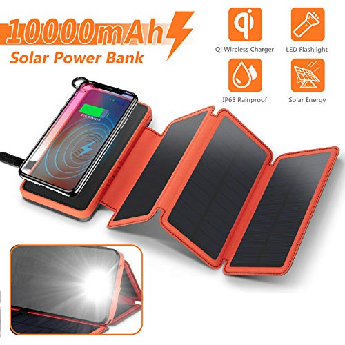 Solar Charger Wireless Power Bank,Waterproof Portable External Battery Pack 10000mAh with 3 Foldable Solar Panels,Flashlight,IP65,Dual 5V/2.1A USB Ports,for Smartphones, Tablets and more(Orange)