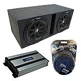 Universal Car Stereo Vented Port Dual 12' Kicker Bundle Comp C12 Sub Box Enclosure & Harmony HA-A800.1 Amp