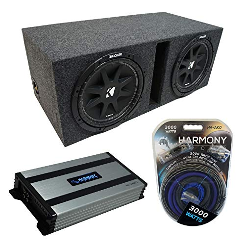Kicker Bundle Compatible with Universal Car C12 Comp Dual 12' Vented Port Loaded Sub Box Enclosure with Harmony HA-A800.1 Amplifier