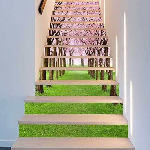 XUFEI-Stair Schritt-Treppen-Aufkleber Treppe Aufkleber, Kirschbäume Straße Ansicht-3D-Simulation-abnehmbare wasserdichte Mode Wanddekor Wandfiguren (Size : 100 * 18cm*13pcs)