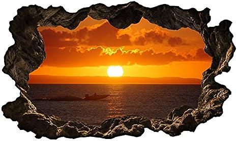 Meer Sonnenuntergang Wasser Wandtattoo Wandsticker Wandaufkleber R1244