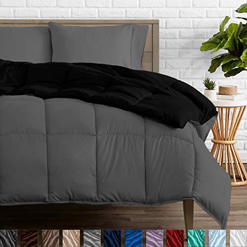 Bare Home Reversible Comforter - Queen Size - Goose Down Alternative - Ultra-Soft - Premium 1800 Series - Hypoallergenic - All Season Breathable Warmth (Queen, Black/Grey)