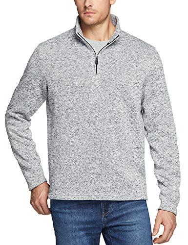 TSLA Men#039s Quarter Zip Thermal Pullover Shirts Winter Fleece Lined Lightweight Running Sweatshirt Fleece 1/4 Zip Sweaterykz40  Heather Grey XLarge