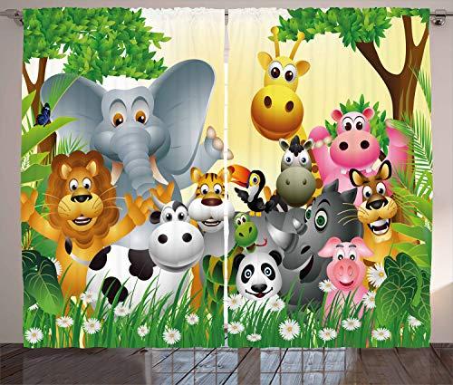 Ambesonne Animal Curtains, Animals in Jungle Elephant Giraffe Panda Bear Pig Lion Hippo Animation Cartoon Art, Living Room Bedroom Window Drapes 2 Panel Set, 108' X 84', Pastel Yellow