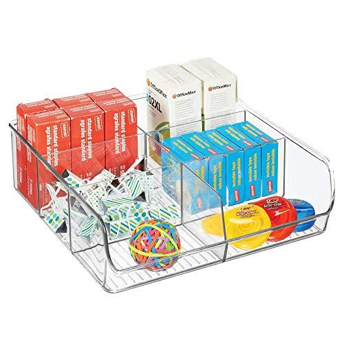 mDesign Organizador de cajones abierto para material de manualidades y de oficina – Práctica caja organizadora con 6 compartimentos – Bandeja de plástico para cajones y armarios – transparente