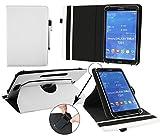 Emartbuy® Blaupunkt Polaris QC Tablet 7.85 Zoll Universal (7-8 Zoll) Weiß PrämiePULeder360GradrotierendeStandFolioGeldbörseTascheHülle + Weiß Eingabestift