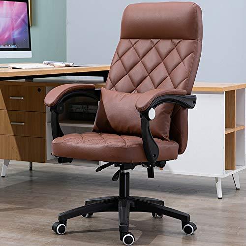 YONG FEI Silla giratoria - Cuero Artificial de Negocios reunión reclinable Oficina en casa elevación Cuero Artificial, Sillas ++ (Color : Amber)
