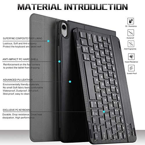 IVSO Keyboard Case for ipad pro 11 - Detachable Wireless Keyboard Front Prop Stand Case Cover Apple Pencil Charging Supported Fit for Apple ipad pro 11 2018 (Black)