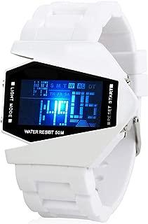 Fanmis Unisex Elegant Plane Style Digital Display Waterproof Outdoor Sports Silicone Strap LED Wrist Watch