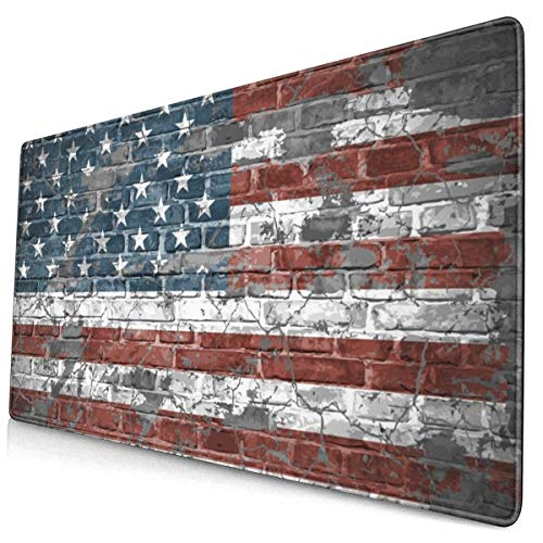 Retro American Flag Design Pattern XXL XL Large Gaming Mouse Pad Mat Long Extended Mousepad Desk Pad Non-Slip Rubber Mice Pads Stitched Edges (29.5x15.7x0.12 Inch)