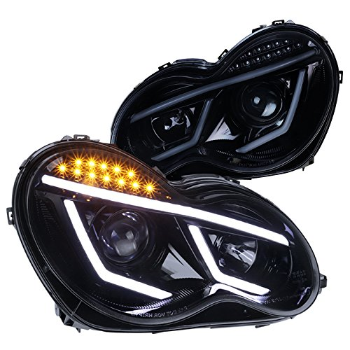 Spec-D Tuning for Mercedes Benz W203 C Class Glossy Black LED Projector Headlights