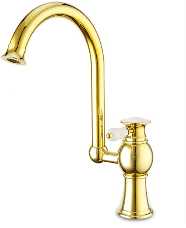 Retro Hot and Cold Faucet Retrobathroom Basin Faucets golden Finish Swivel Kitchen Mixer Taps