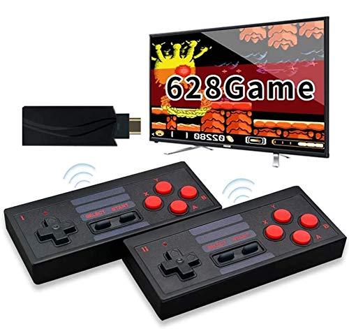 grneric Console de jeu vidéo 4K HDMI intégrée 628 jeux classiques USB Portable Rétro Manette de jeu Mini console rétro sans fil Sortie HDMI Double lecteur