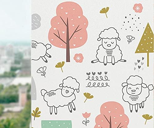 Lámina para Ventanas Animal de Dibujos Animados de Flor Amarilla Rosa Blanca...
