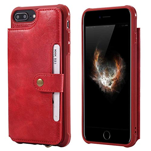 iPhone 7 Plus/iPhone 8 Plus Case, Bear Village Premium PU Leather Case with Card Slot and Wrist Strap, Shockproof Protective Back Cover for Apple iPhone 7 Plus/iPhone 8 Plus, Red