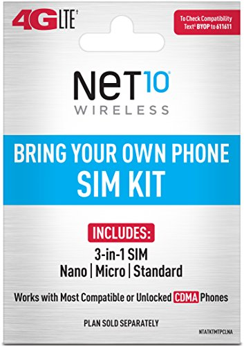 Net10 - Bring Your Own Phone CDMA 3-in-1 Sim Card Kit (4G LTE) - Verizon Compatible