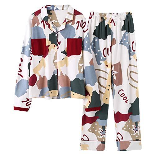 Pyjama Damen Nachthemd Schlafanzug Mode Nachtwäsche Damen Baumwolle Cute Pyjamas Mädchen Langarm Tops Hosen Mit Taschen Dot Casual Lounge Wear XL 004