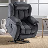 ANJ HOME Power Lift Recliner Chair with Massage & Heat & Vibration for Elderly, Heavy Duty and Safety Motion Reclining Mechanism - Antiskid Fabric Sofa Contempoary Overstuffed Design, Grey