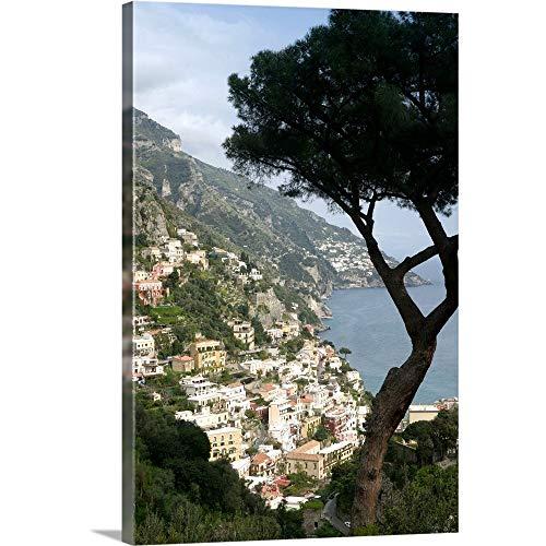 "GREATBIGCANVAS Europe, Italy, Amalfi Coast, Positano, Town View Canvas Wall Art Print, 20""x30""x1.5"""
