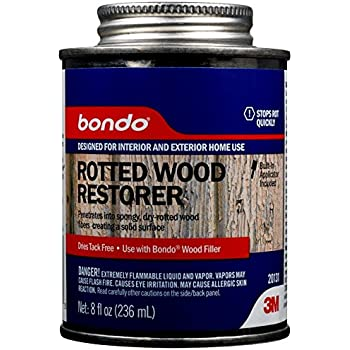 3M 20131 Bondo Rotted Wood Restorer, Penetrates into Spongy, Dry-rotted Wood Fibers Creating a Solid Surface, 8 Fl oz