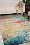 Nourison Celestial Modern Abstract Area Rug, 6'7' x 9'7' (7x10), Sealife Multicolor Grey