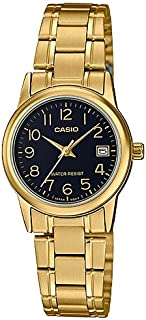 Casio Womens Quartz Watch, Analog Display and Stainless Steel Strap LTP-V002G-1BUDF