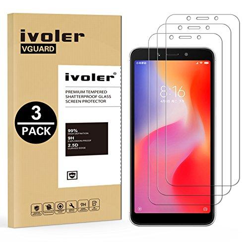 ivoler [3 Stücke] Panzerglas Schutzfolie für Xiaomi Redmi 6A / Xiaomi Redmi 6, 9H Festigkeit, Anti- Kratzer, Bläschenfrei, [2.5D R&e Kante]