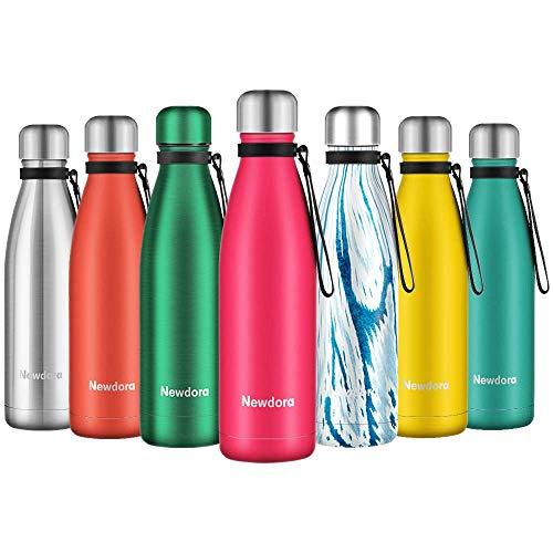 Newdora Trinkflasche Edelstahl Thermosflasche BPA-frei Auslaufsicher Vakuumisolierte Sportflasche Leicht Wasserflasche - 500ml für Reisen, Sport und Outdoor mit Reinigungsbürste