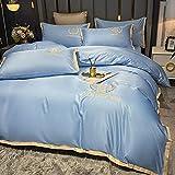 Juego de Funda de edredón para Cama de Matrimonio,Lavar el conjunto de cuatro piezas de seda, cómoda sedosa cama de verano reversible de una sola almohada de la cama de la almohada Suministros de cam