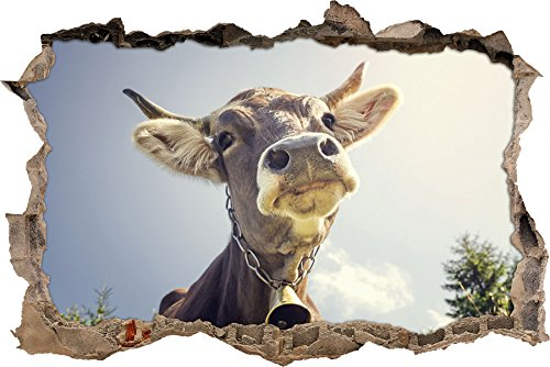 Stil.Zeit Lustiges Portrait Einer Kuh Wanddurchbruch im 3D-Look, Wand- oder Türaufkleber Format: 92x62cm, Wandsticker, Wandtattoo, Wanddekoration