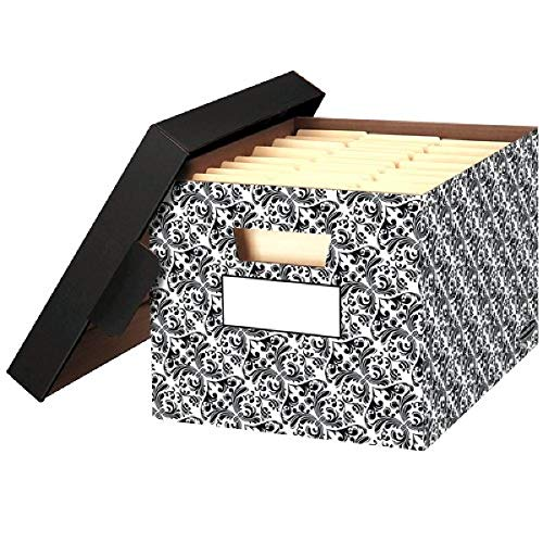 Bankers Box STORFILE Decorative Medium-Duty Storage Boxes FastFold Lift-Off Lid LetterLegal Brocade 4 Pack 0022705