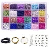 9300 Pcs abalorios perlas,surtidos de abalorios para bisutería,kits para hacer bisutería perlas de vidrio perlas redondo seed beads de cristal tamaño(2mm)