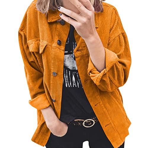 WJANYHN Primavera, Autunno E Inverno Velluto A Coste Tinta Unita Cardigan con Bottoni Multicolore Camicia A Maniche Lunghe Bavero Camicia Ampia Imbottita Giacca Cappotto Donna