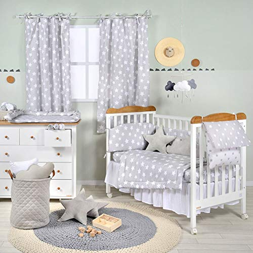 Great Features Of Gray White Star Crib Bedding Set (3PC Bedding Set + 1 x Hamper)