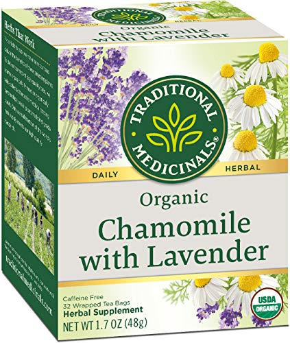 Traditional Medicinals Organic Chamomile with Lavender Herbal Tea 32ct (Pack of 3), Calms the...