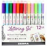 Zebra Pen Lettering Set, Includes 6 Mildliner Highlighters and 6...