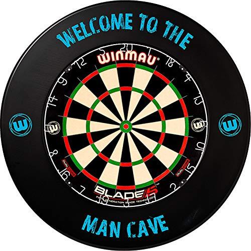 Winmau Blade 5 Dual Core Bristle Dartboard Turnierboard Dartscheibe und Winmau Surround Catchring Wandschutz (Man Cave)