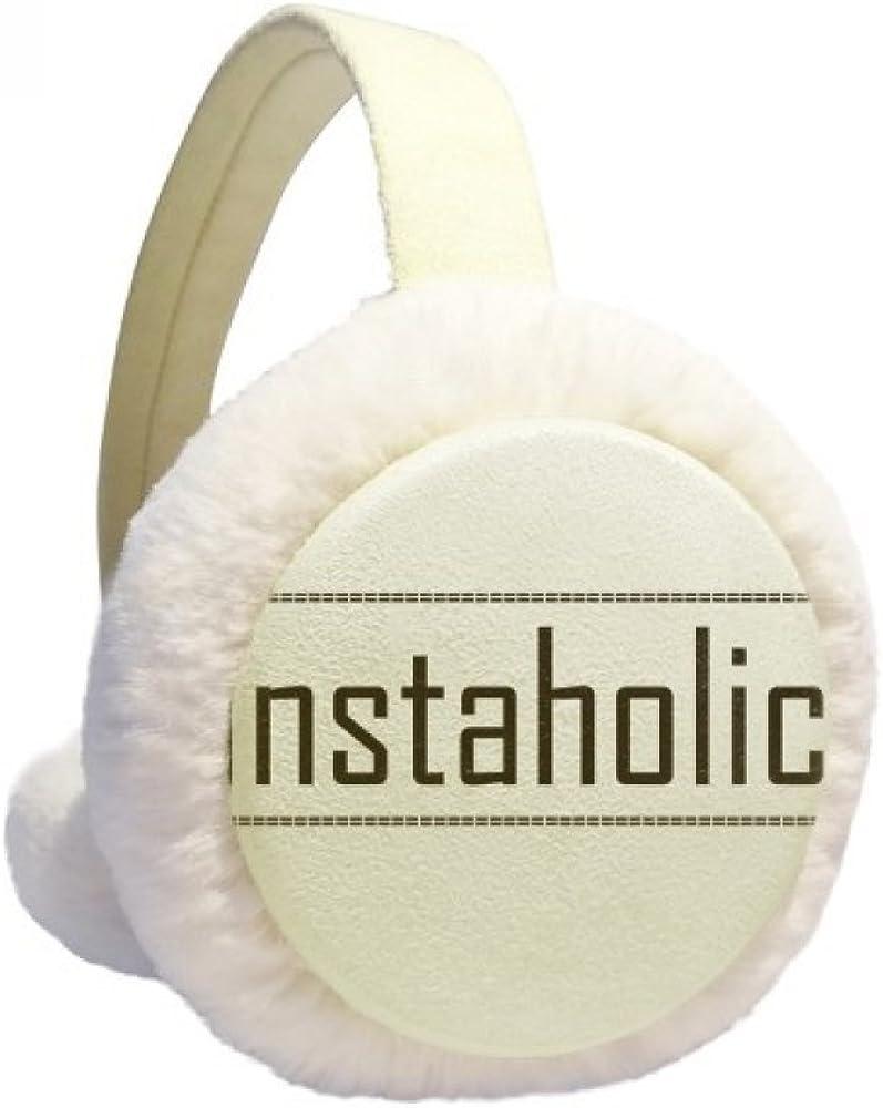 Stylish Word Instaholic Winter Ear Warmer Cable Knit Furry Fleece Earmuff Outdoor