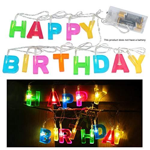 ATPWONZ - Ghirlanda Luminosa A LED, Motivo: Scritta Happy Birthday, Per Feste Di Compleanno, Funzionamento A Batteria