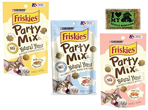 Purina Friskies Party Mix Natural YUMS - 3 Flavor Variety Pack (1) Real Chicken (1) Real Salmon (1) Real Tuna, 2.1 Oz Each - Plus Catnip (4 Items Total)