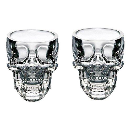 easytar cristal 3d calavera pirata Shot Glass Drink cerveza Copa de cóctel, Set de 2