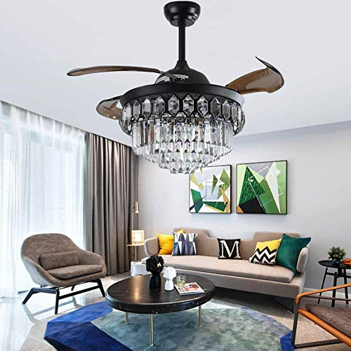 Fandian 42' Retro Crystal Ceiling Fan with Lights Black Retractable Fan Remote Control Fandelier Fixtures, 3 Color Changes Luxury Lighting for Dining room, Living room