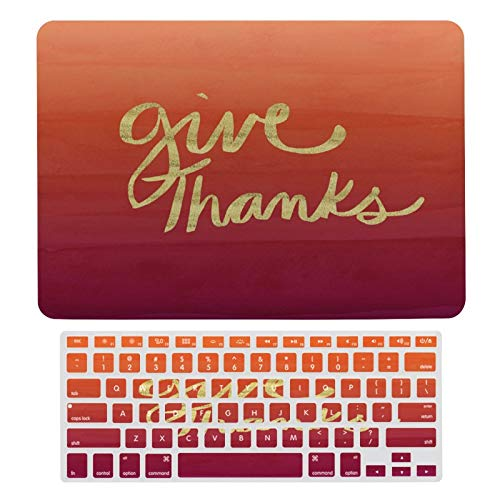 For MacBook Air 13 Inch Case A1466, A1369 Hard Shell Cover for 13 Inch MacBook Air 13 Case & Keyboard Cover, Give Thanks Orange Ombre Laptop Protective Shell Set