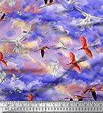 Soimoi Lila Seide Stoff Fliegen Stork & Dove Vogel Stoff