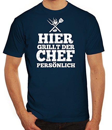 Grillen Grill Garten Party Herren Männer T-Shirt Rundhals Hier grillt der Chef persönlich, Größe: XL,dunkelblau