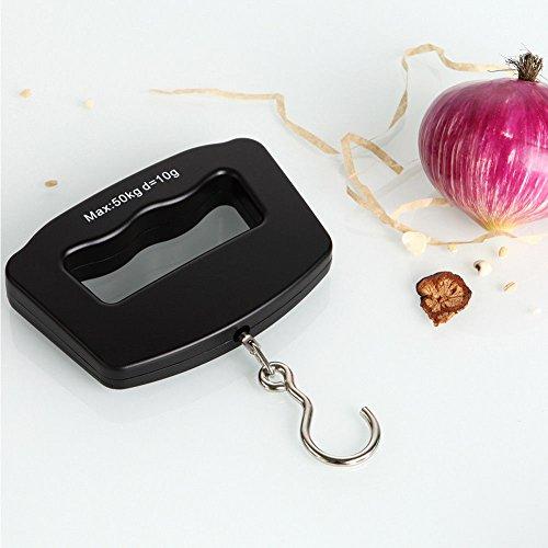 Mini-Waage, tragbar, 50 kg / 10 g, LCD-Digitalgewicht, elektronisch, mit Haken