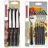 Kaimano ACC0553 Coltelli Bistecca, acciaio inossidabile, Nero, 6 unità & Kts790106N Italicus Forchette, Acciaio Inossidabile, Nero, 6 Unita